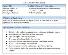 Church Greeter Volunteer Job Description Church Managment  sc 1 st  pretty resume templates business resumes templates professional ... & Manager Job Description. Avid Studio Toolkit Must Have HTmigel ...