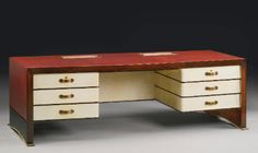 Leather and Parchment Desk with a blotter, both designed by Paul Dupré-Lafon. Leather produced by Hermes, France, circa 1940 - Sotheby's Antique Furniture, Modern Furniture, Furniture Design, Hermes Home, Ludwig Mies Van Der Rohe, Desk Accessories, Working Area, Joinery, Decorative Objects