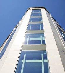 Europark: Naturstein i fasader er levert av Naturstein Montering AS på Sundvollen i Hole Kommune Ladder, Natural Stones, Stairway, Ladders