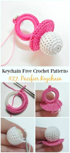 Knitting Patterns For Kids Amigurumi Pacifier Keychain Free Crochet Pattern - Free Patterns Crochet Keychain Pattern, Crochet Amigurumi Free Patterns, Crochet Bookmarks, Crochet Dolls, Free Crochet, Knitting Patterns, Crochet Gratis, Crochet Tutorials, Crochet Ideas