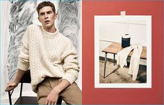 Embracing neutrals, Mathias Lauridsen models a fisherman knit sweater from Zara Man's fall-winter 2016 Studio collection.