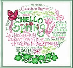 Lets Bloom - cross stitch pattern designed by Ursula Michael. Category: Words.