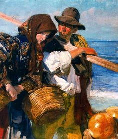 """Fishermen"" by José Mongrell Torrent (1870-1937, Spain)"