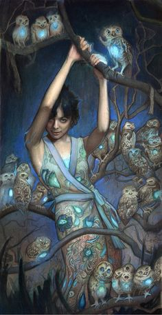 """""""Nocturne"""" - Rod Luff {contemporary artist illustration beautiful female in blue with night owls painting} Art Et Illustration, Illustrations, Nocturne, Owl Art, Pics Art, Art Design, Oeuvre D'art, Painting & Drawing, Pastel Drawing"""