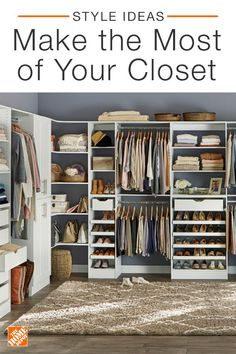 Textures Closet – Shop by Room – The Home Depot Our selection of fun and functional closet storage makes it easier than ever to stay organized. Tap the link in our bio to shop modular closet kits. Closet Space, Walk In Closet, Closet Redo, Closet Storage, Closet Organization, Corner Storage, Storage Room, Organiser Son Dressing, Organizar Closet