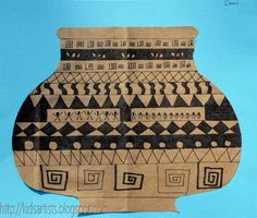 'fold a piece of brown wrapping paper in half and draw one half of a Greek vase ... http://vasekino.net/greek-vase-for-kids/