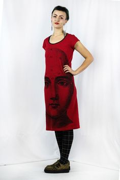 Skull Phrenology - Back Seam Cap Sleeve Dress