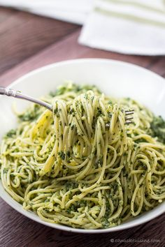 Spaghettini with Creamy Kale Sauce