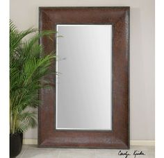 Uttermost 07683 Draco Oversized Leather Frame Mirror Image