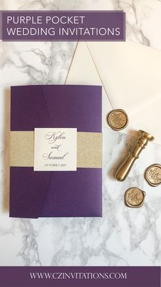 Gold Glitter and Purple Lace Pocket! This lace detail is incredibly elegant and stylish. Add some sparkle with the gold glitter mat and liner to perfectly compliment the purple pocket. Plum Wedding Invitations, Glitter Invitations, Unique Invitations, Wedding Stationery, Pocket Invitation, Invitation Envelopes, Invitation Design, Gold Wedding, Diy Wedding