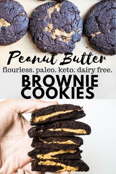 These flourless keto peanut butter brownie cookies are squeaky clean! Rich chocolate filled with salted nut butter! These are allergen friendly using sunflower seed butter, coconut free, nut free and dairy free! Hash Browns, Brownie Cookies, Keto Cookies, Low Carb Desserts, Healthy Desserts, Healthy Food, Paleo Treats, Keto Snacks, Healthy Baking