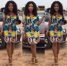 African belted short sleeves chitenge dress kanyget fashions+