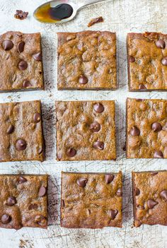 soft and chewy gingerbread molasses chocolate chip bars