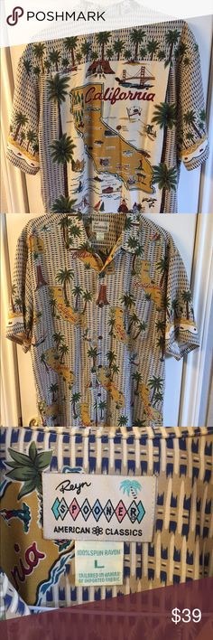 Spooners Hawaiian Men's Shirt California Sz L Nice American Classics Hawaiian men's shirt size Large. Palm trees and a map of California on the back. One front pocket in the left chest area. Doesn't look to have ever been worn. No stains, fading, rips, tears or snags. 100% Spun Rayon. Made in Hawaii. Our listings come from a smoke free and clean home. Spooners Shirts Casual Button Down Shirts