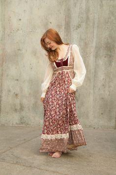 Vintage Gunne Sax dress red burgundy ivory by RoseleinRarities