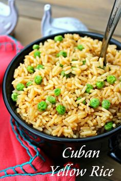 Cuban Yellow Rice Cuban style rice with sautéed onions herbs spices including saffron and fluffed with peas creating a perfect balance to any meal The Complete Savorist by Michelle De La Cerda Cuban Rice And Beans, Rice And Beans Recipe, Side Dish Recipes, Dinner Recipes, Dinner Ideas, Lunch Recipes, Delicious Recipes, Yellow Rice Recipes, Rice