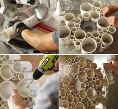 🎉🎉DIY: PVC Tubes Wreath🎉🎉What you need: Tools: Mitre saw Drill Supplies/Ingredients: 6 different diameters of PVC pipe Glue 2 feet of chain 2 drawer knobs Spray paintDecorate and enjoy! Pvc Pipe Crafts, Pvc Pipe Projects, Diy And Crafts Sewing, Crafts To Sell, Diy Crafts, Pvc Tube, Easy Home Decor, Diy Wreath, Crafts For Teens