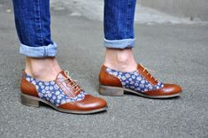Hudson  Womens Oxfords Floral shoes Leather by JuliaBoShoes