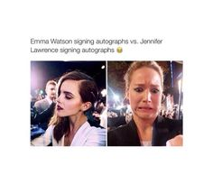 When you love both actresses but are more relatable to jennifer lawrence