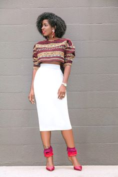 Style Pantry | Embroidered Crop Top + High Waist Pencil Skirt