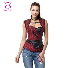 Punk Steel Boned Overbust Corset Gothic Fashion Jacket Set Plus Size Corsets and Bustiers Steampunk Clothing Burlesque Costumes //Price: $US $25.45 & Up To 18% Cashback //     #gothic
