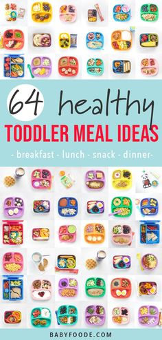 These 64 Toddler Meal Ideas are healthy, simple to make and can be customized to fit any toddler's preferences. This inspirational guide includes balanced and wholesome breakfast, snacks, lunch and dinner meal ideas. #toddler #mealideas #healthy