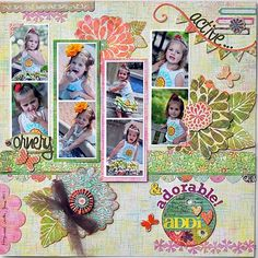 Active, Ornery & Adorable Addi - Scrapbook.com - Love the picture groupings. #scrapbooking #layouts #basicgrey