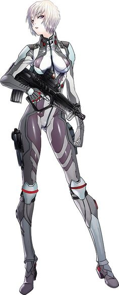 Anime Girl, Futuristic Suit, Future Warrior, Girl with Gun by hiroe rei