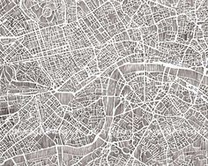 Hand drawn London map print at etsy. City Ville, A Darker Shade Of Magic, Graffiti, Holiday Icon, London Map, Map Globe, Treasure Maps, Map Design, Graphic Design