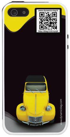Coque de portable IPhone 5/5s associée à une carte de visite virtuelle via un qrcode : illustration : 2 CV jaune (james bond)