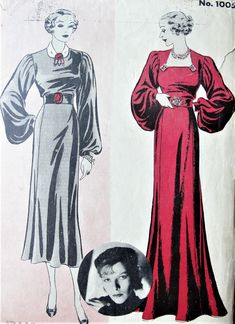 RARE 1930s GORGEOUS Evening Gown Pattern HOLLYWOOD 1005 Glamorous Sleeves 76736970785a