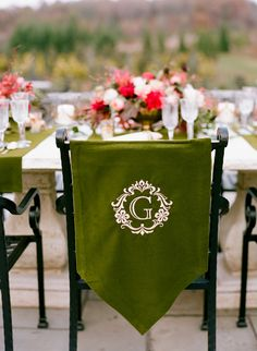 Chair Decor | Wedding Reception Decor | Initials | Photography: Jen Fariello | See the full fall wedding shoot on SMP: http://www.stylemepretty.com/virginia-weddings/2013/11/26/claire-pettibone-shoot-at-the-market-at-grelen-from-jen-fariello