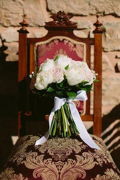 Romantic white and blush bridal bouquet   Greek Island Wedding