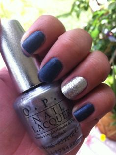 annett3:  China Glaze -Midnight Mission (Vintage Vixen collection)  Essie - Matte About You (top coat)  OPI - DS Radiance/silver glitter