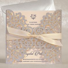 Glitter Laser Cut Wedding Invitations, Silver & Blush Pink