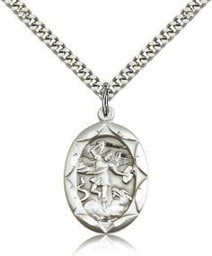 Sterling Silver Men's Patron Saint Medal of ST. MICHAEL the ARCHANGEL - Includes 24 Inch Heavy Curb Chain - Deluxe Gift Box Included Bliss. $48.74. Satisfaction Guaranteed - No Questions Asked 30 Day Return Policy. sterling silver. 24 Inch Heavy Curb Chain - Deluxe Gift Box Included. made in USA. dimensions:1 x 5/8