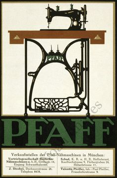 Pfaff Vintage Sewing Machine Poster