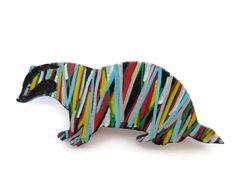 Painted Badger Brooch, Stocking Stuffer, Woodland Brooch, Woodland Animal, Badger Pin, Handmade Jewelry, Animal Badge, Animal Brooch by Larryware on Etsy