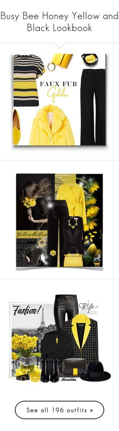 """""""Busy Bee Honey Yellow and Black Lookbook"""" by yours-styling-best-friend ❤ liked on Polyvore featuring yellow, black, hot, bee, bumblebee, RED Valentino, Oasis, MANGO, Le Monde Beryl and Poesia"""