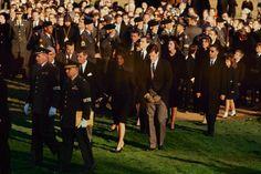 Robert Kennedy, Jacqueline Kennedy and Edward Kennedy at John F. Kennedy's funeral, Arlington Cemetery, November 25, 1963.