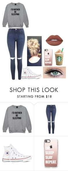 """""""Me"""" by craycraymonkey03 ❤ liked on Polyvore featuring Topshop, Converse, Casetify and Lime Crime"""
