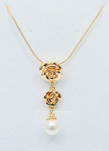 Best White Golden Peony Silver Alloy Zicron Jewel Necklace For Women
