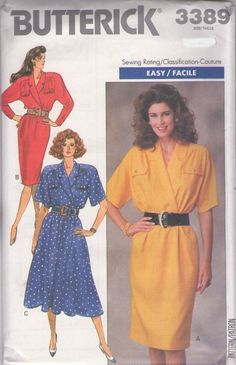 MOMSPatterns Vintage Sewing Patterns - Butterick 3389 Vintage 80's Sewing Pattern NIFTY SLEEVES Office Secretary Surplice Dress, Slim or Flared Skirt Size 8-12