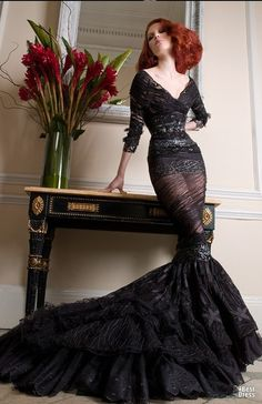 Oh my, Morticia Addams would have killed for this dress!
