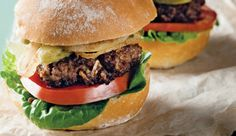 Deluxe beef burger #recipe. The soup mix gives this burger an onion flavour, without the tears.