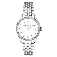 6edd6d08f7b Bulova 96R181 Women s Diamond Gallery White Dial Steel Bracelet Watch