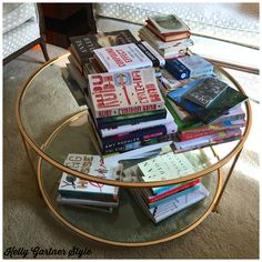 Books on table after