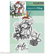 New Penny Black A GIFT FOR YOU Slapstick Cling Rubber Stamp Christmas Cat Mouse