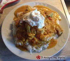 Ινδικό κοτόπουλο κάρυ Nom Nom, Food And Drink, Rice, Yummy Food, Chicken, Meat, Cooking, Recipes, Kitchen