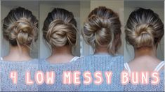 I've had a lot of people request low messy bun tutorials, so here it is! I wanted to do messy buns that were actually achievable! These low mes. Messy Bun For Short Hair, Easy Messy Bun, Easy Hair Buns, Buns For Short Hair, Easy Low Bun, Low Bun Updo, Low Bun Hairstyles, Easy Hairstyles For Long Hair, Hairstyles Videos